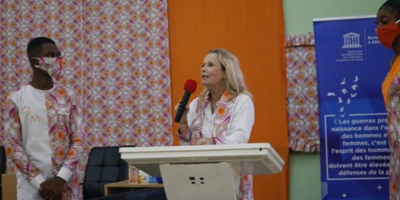 La Représentante de l'Unesco, Anne Lemaistre (au pupitre). (DR)